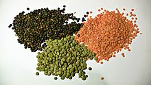 red, brown and green lentils