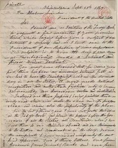 A Letter (one of many) that she wrote to Abraham Lincoln to have Thanksgiving, a New England tradition, made into a a National Holiday