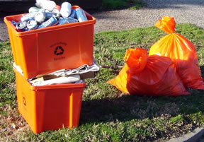 Orange trash bags for Plymouth's pay As You Throw, which now has pick up!