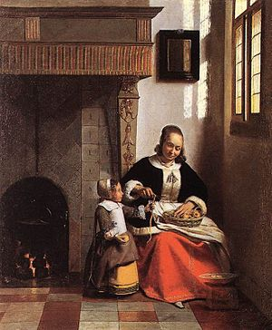 Pieter de Hooch A Woman Peeling Apples