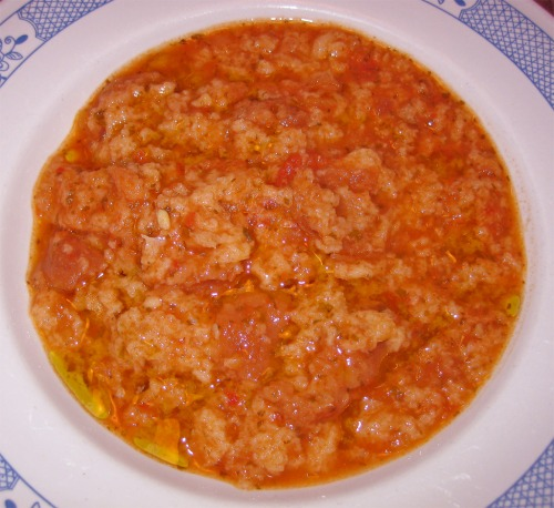 Pappa al pomodoro - pappa is indeedy related to pap....and pomodoro is tomato