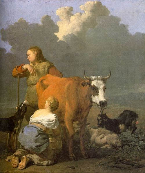 Woman milking a cow - Karel Dujardin - 1650 Dutch