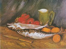 Van Gogh - Still life with Mackerel and tomatoes 1886