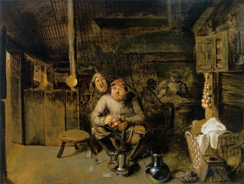 Drinking Peasants by Pieter   -notice the onions hanging by the fire - Those braids or plats are known as  Traces. Onion Traces.