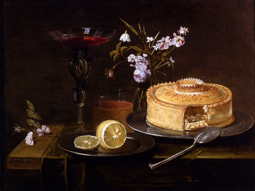 A-Still-Life-Of-A-Pie-And-Sliced-Lemon-On-Pewter-Dishes-A-Vase-Of-Flowers-A-Glass-Of-Beer-And-A-Wine-Glass-Upon-A-Partly-Draped-Table