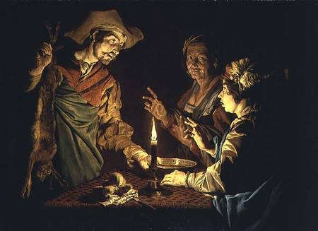 Esau and Jacob Mathias Stom, 1640's. That's a Mess of Pottage in the bowl