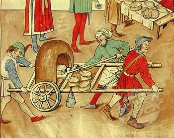 15th century mobile oven...great looking pies there, too.