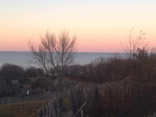 sunset over village