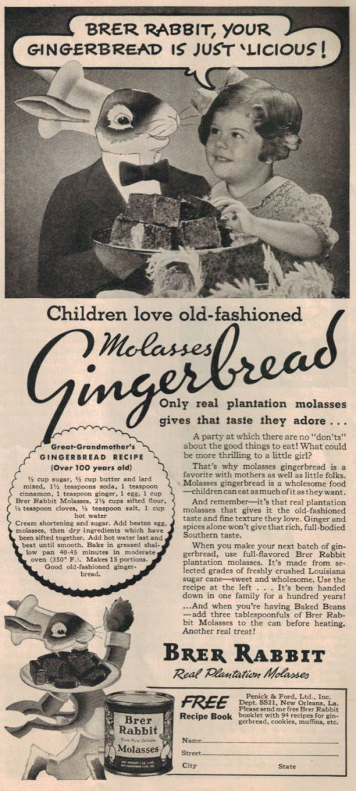 Molasses gingerbread still popular in the early 20th century