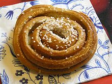 This is a Swedish Kanelbulle, which is the family of cinnamon rolls that Grandma had made. Notice that there is no icing. Believe you me, they don't need it!