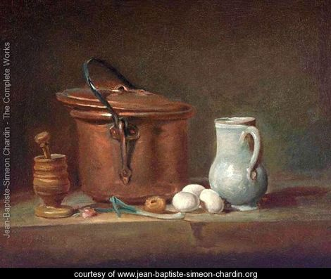 Still Life with Copper Pan - and one leek - Jean-Simeon Chardin - 18th century