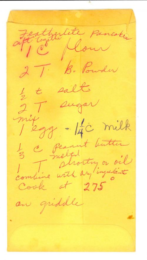 Rosa Parks recipe for featherlight pancakes - written on the back of an envelope