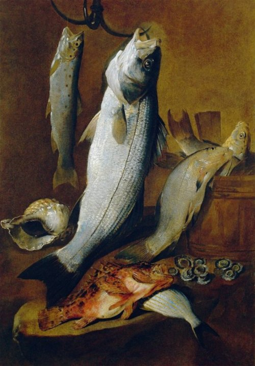 Giovanni Battista Ruoppolo - Still Life of Fish with Char, Bass, Rockfish, Sea Bream and shells  - 17th century