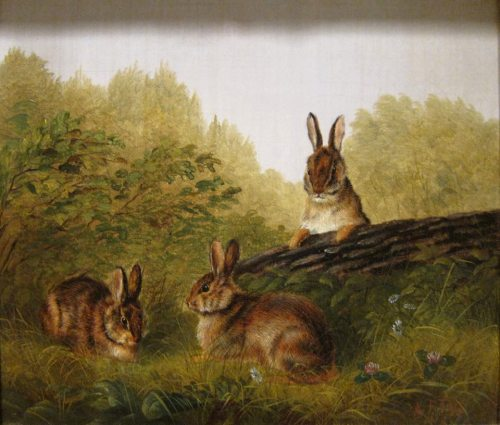 Arthur Fitzwilliam Tait (1819-1905) Rabbits on a log 1897