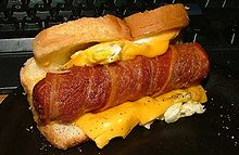 The Danger Dog - and yes, that is bacon wrapped around the dog surrounded by cheese