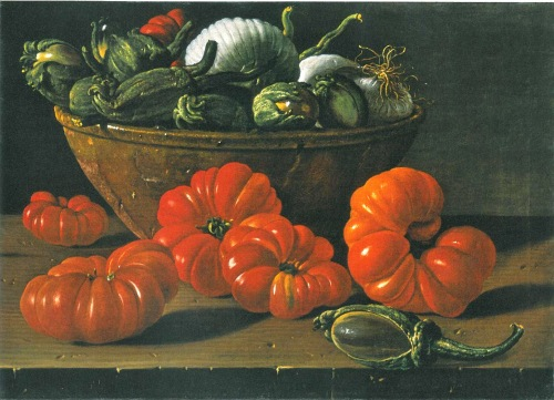 A still life with Tomatoes, a Bowl of Aubergines, and Onions by Melendez, c. 1771-1774