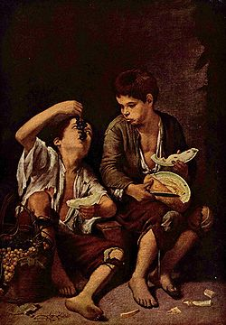 Murillo Beggar Boys Eating Grapes and Watermelon