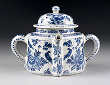 Posset pot, Netherlands, Late 17th or early 18th century, Tin-glazed earthenware painted in blue V&A Museum no. 3841-1901[1] Victoria and Albert Museum, London