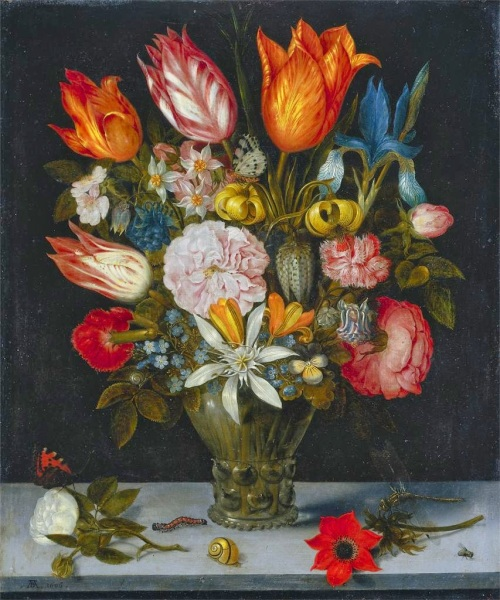 Ambrosius Bosschaert's 1606 oil on copper painting Flowers in a Glass