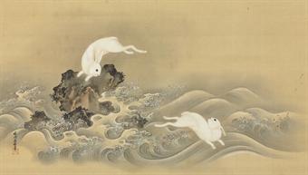 rabbits frolic Kano Osanobu 1796-1846