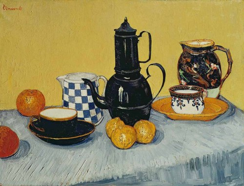 Van Gogh, Coffeepot, Earthenware and Fruit, May 1888. Oil on canvas, 65 x 81 cm. Private collection.