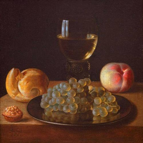 'Still life with a glass of Rhine wine, bread and fruits' by Sebastian Stosskopf (Alsatian painter, 1597-1657), 1644