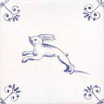 Delft-animal-tile-leaping-hare